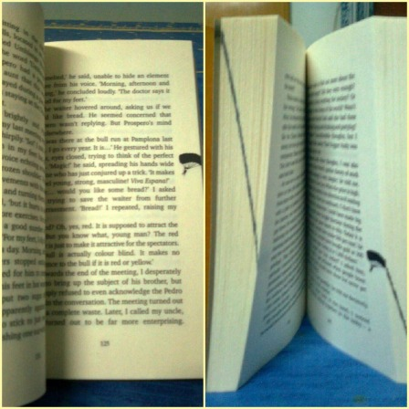Note the line indicating as the parachute gradually travels across the book.