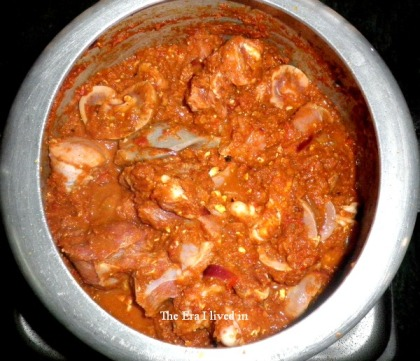 Coat the mutton pieces in the masala