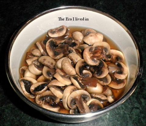Mushroom in salted boiling water