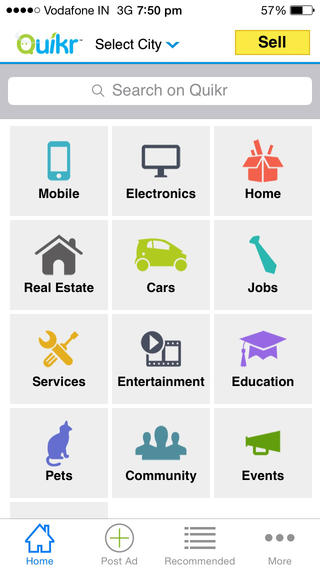 Quikr app screenshot