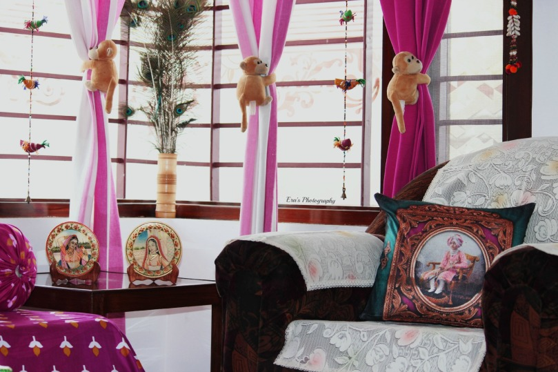 The cuddly monkey curtain holders are Pari's favorite, the strings of birds are symbolic of Rajasthani handicrafts and the Bani Thani of Kishangarh etched in Marbe.