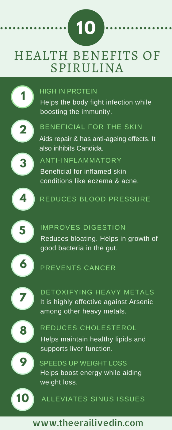 Health Benefits Of Spirulina - Spirulina is a superfood that in its organic form is loaded with health benefits. #theerailivedin #spirulina