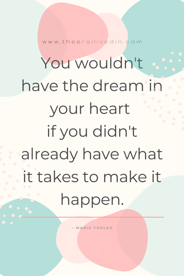 You wouldn't have the dream in your heart if you didn't already have what it takes to make it happen. Go ahead crush all your goals and realise all your dreams however impossible they may seem. How? Read the article on my blog for all the action steps. #theerailivedin #goalsetting #goals #dreams #quotestoliveby