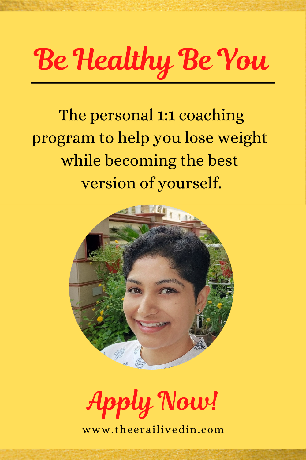 The one on one online weight loss coaching program for women helping them create the mindset and the body they deserve. To get on the waitlist, click the picture to be directed to the application form.